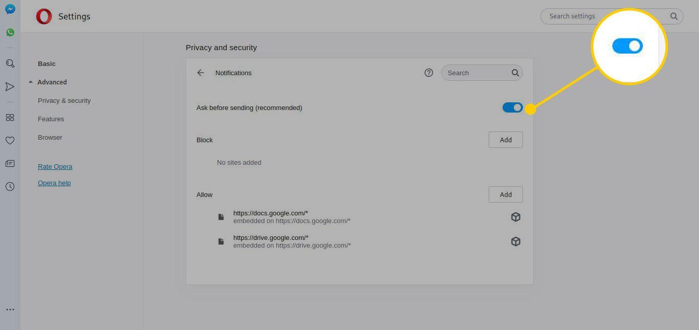 Notifications settings in Opera