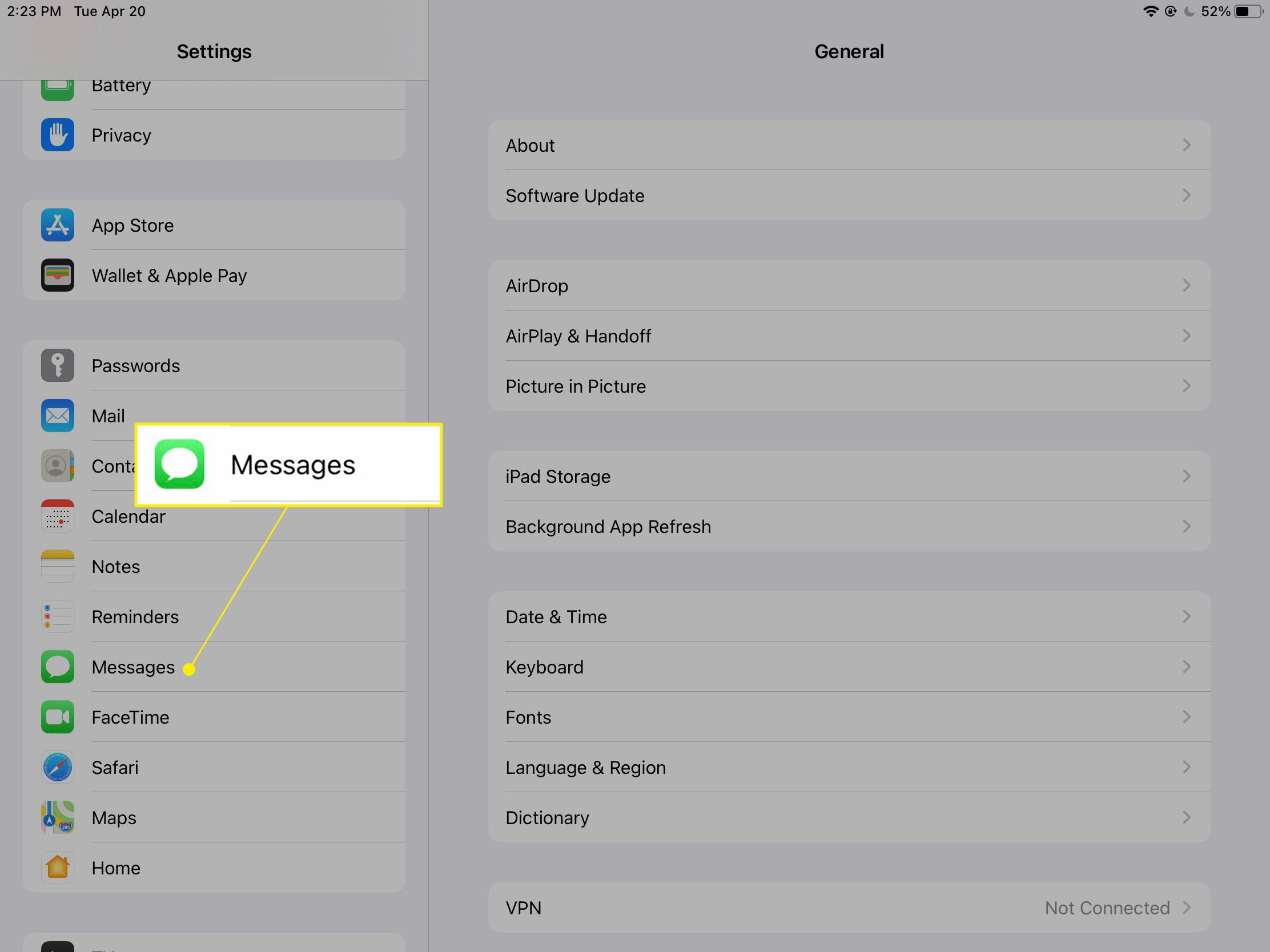 iPad settings with Messages highlighted