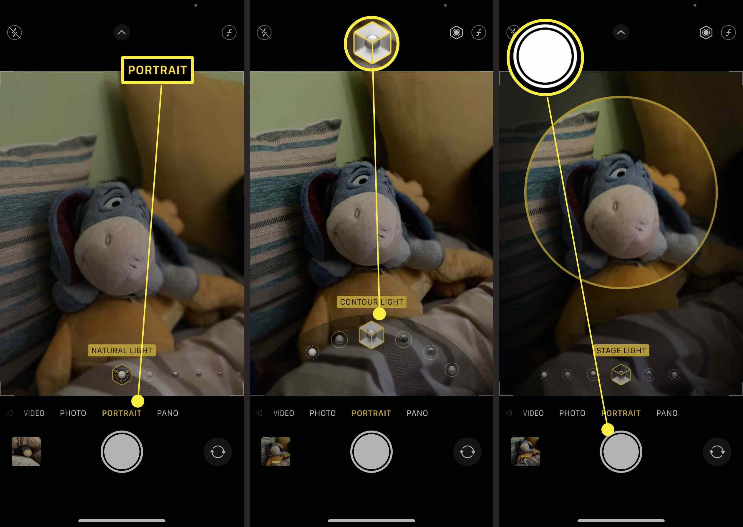 Steps required to take a photo in portrait mode on iPhone and adjust the background
