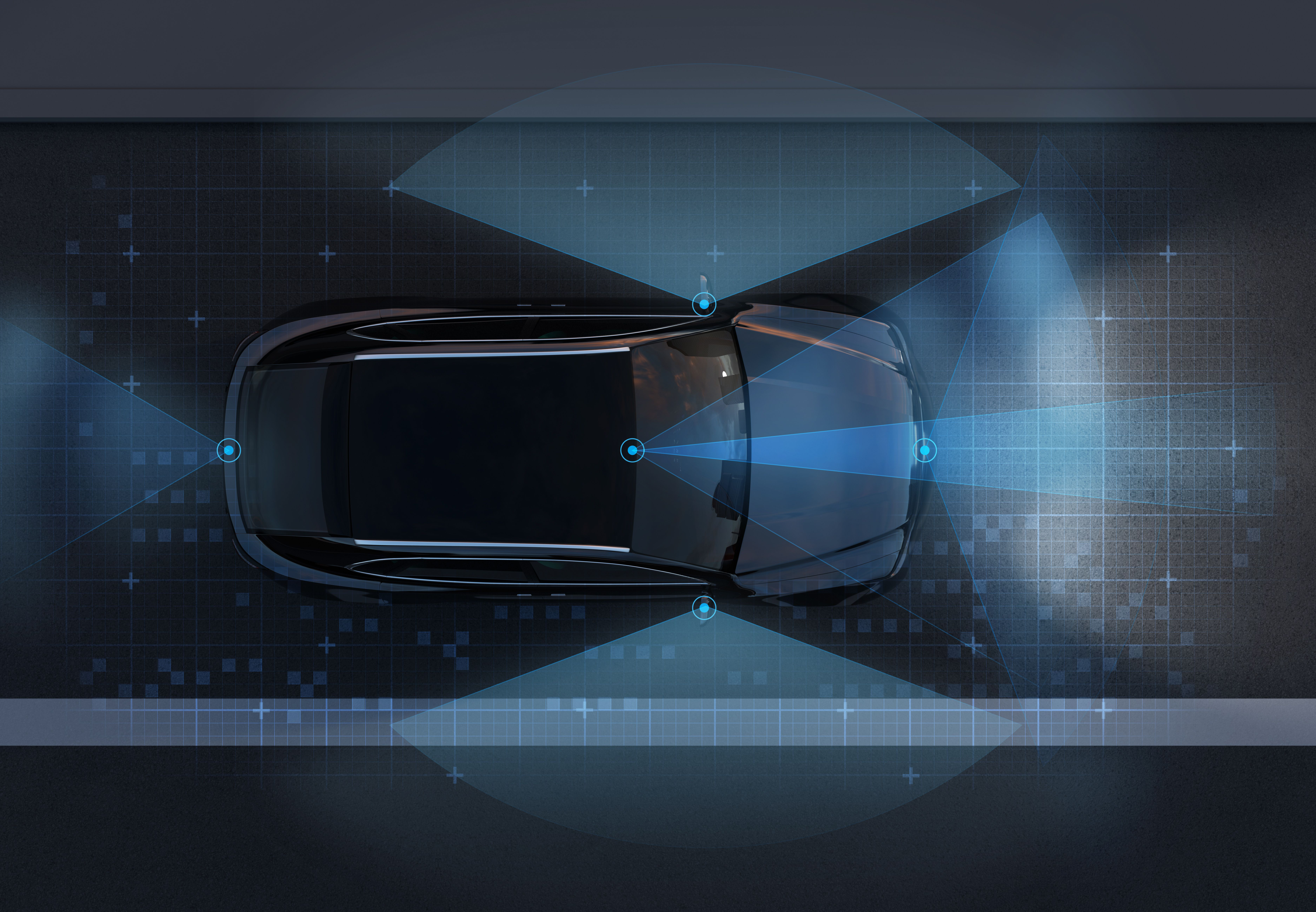 A diagram of an autonomous vehicle showing how the sensors work.