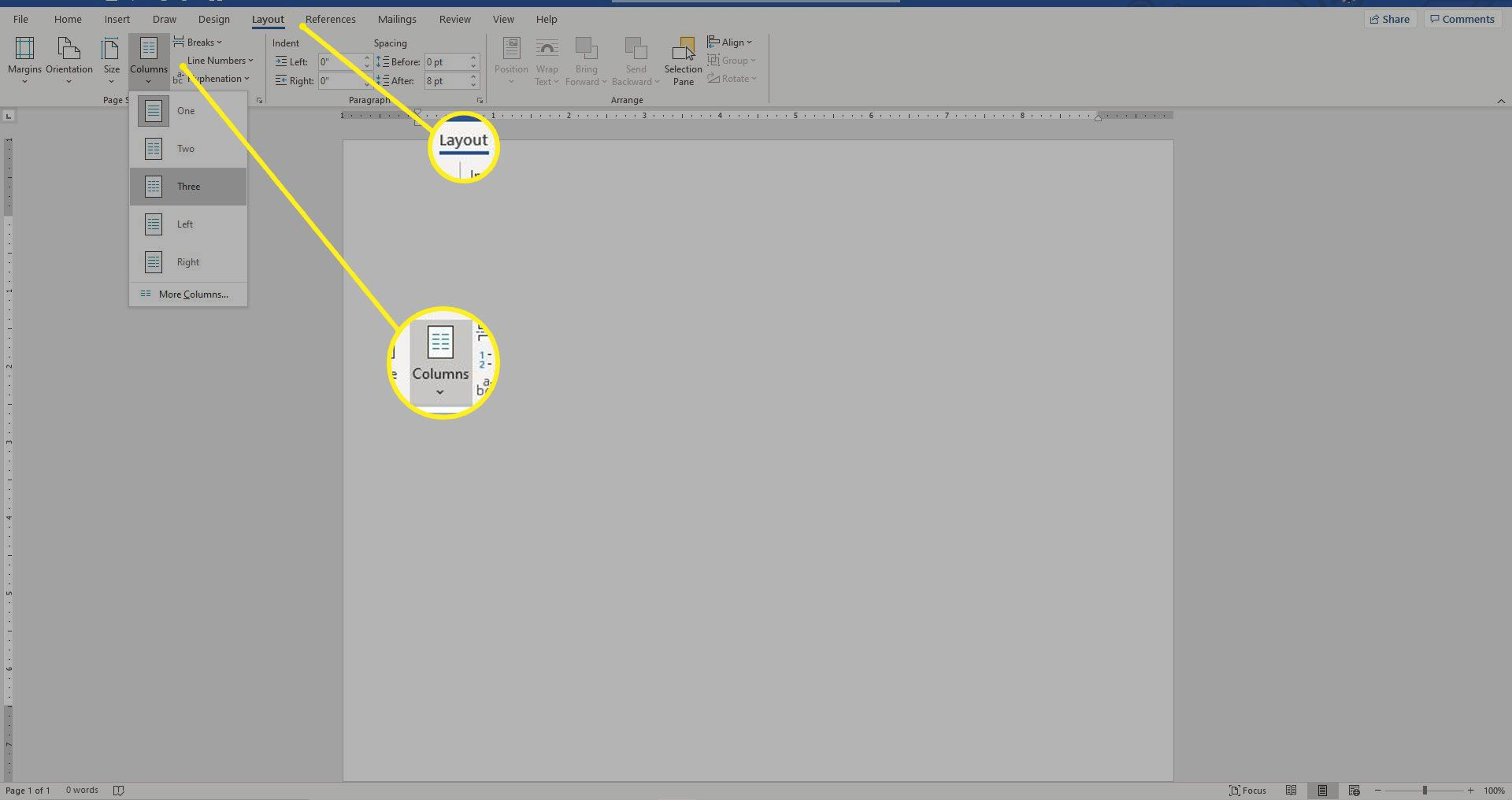 Word document with the Layout tab and Columns buttons highlighted