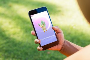 Eevee evolution, Leafeon, in Pookemon Go video game on mobile.