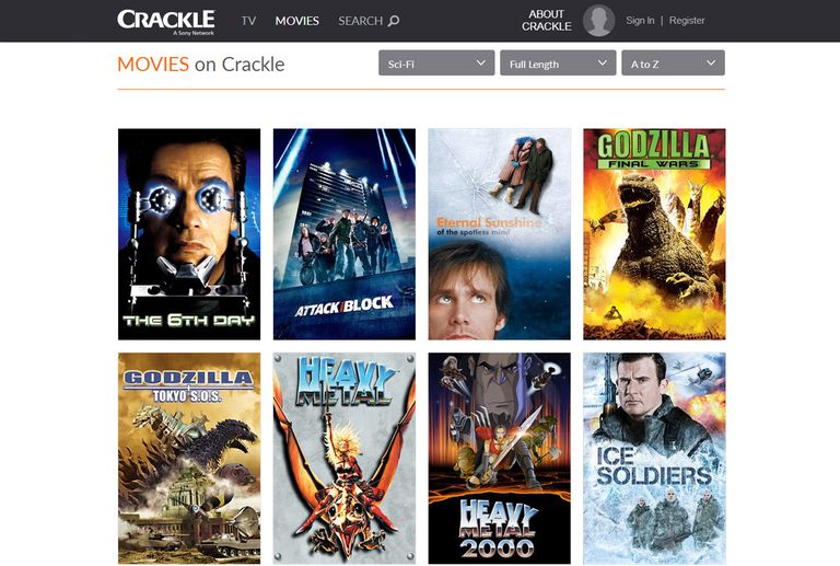 Crackle Movie Menu Example