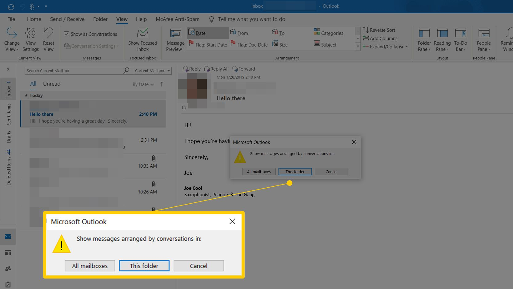 View Mail Grouped by Conversation Thread in Outlook