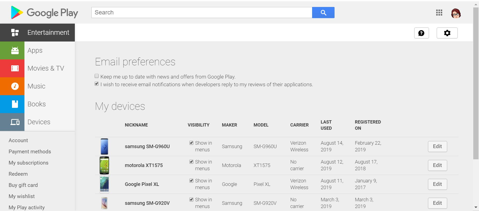 Google Play Store device visibility settings.
