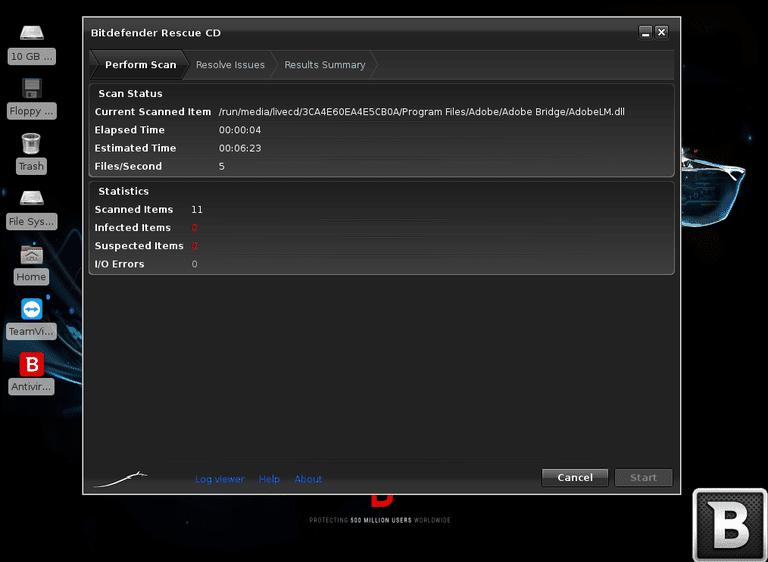 Screenshot of the Bitdefender Rescue CD program