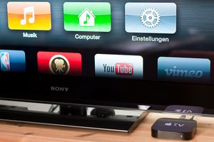 Apple TV next to a Sony Bravia