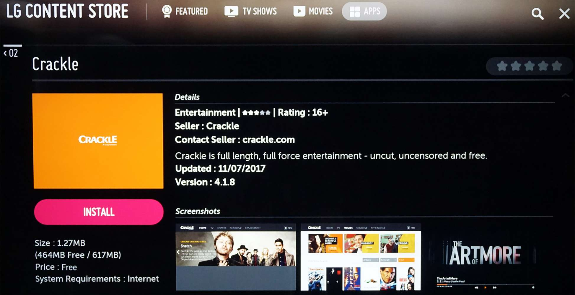 LG Content Store Crackle App Selected