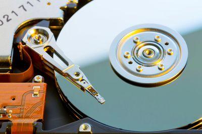 Close up of hard disc drive