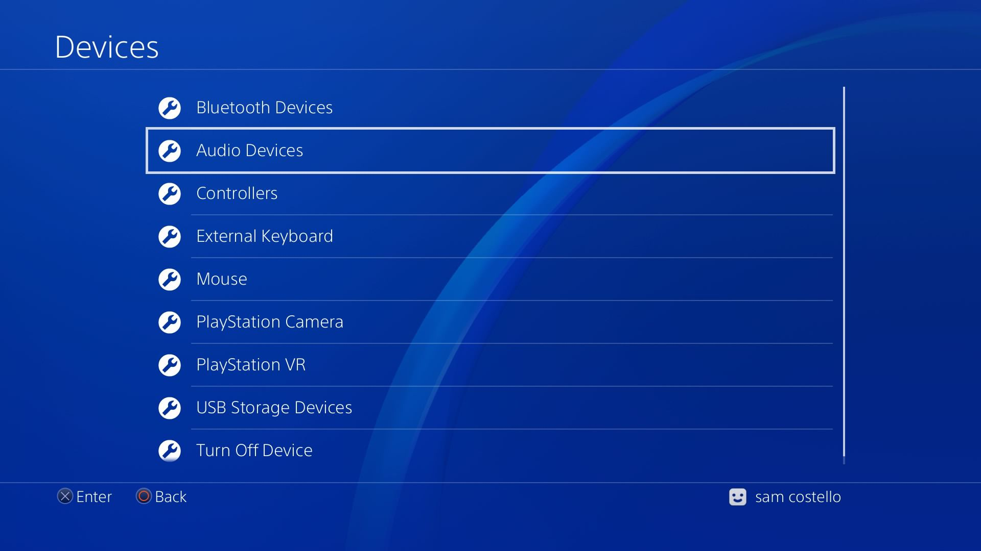 Screenshot of the PS4 devices menu