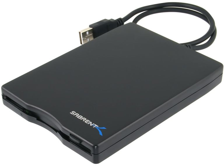 Photo of a Sabrent External USB 1.44 MB Floppy Disk Drive