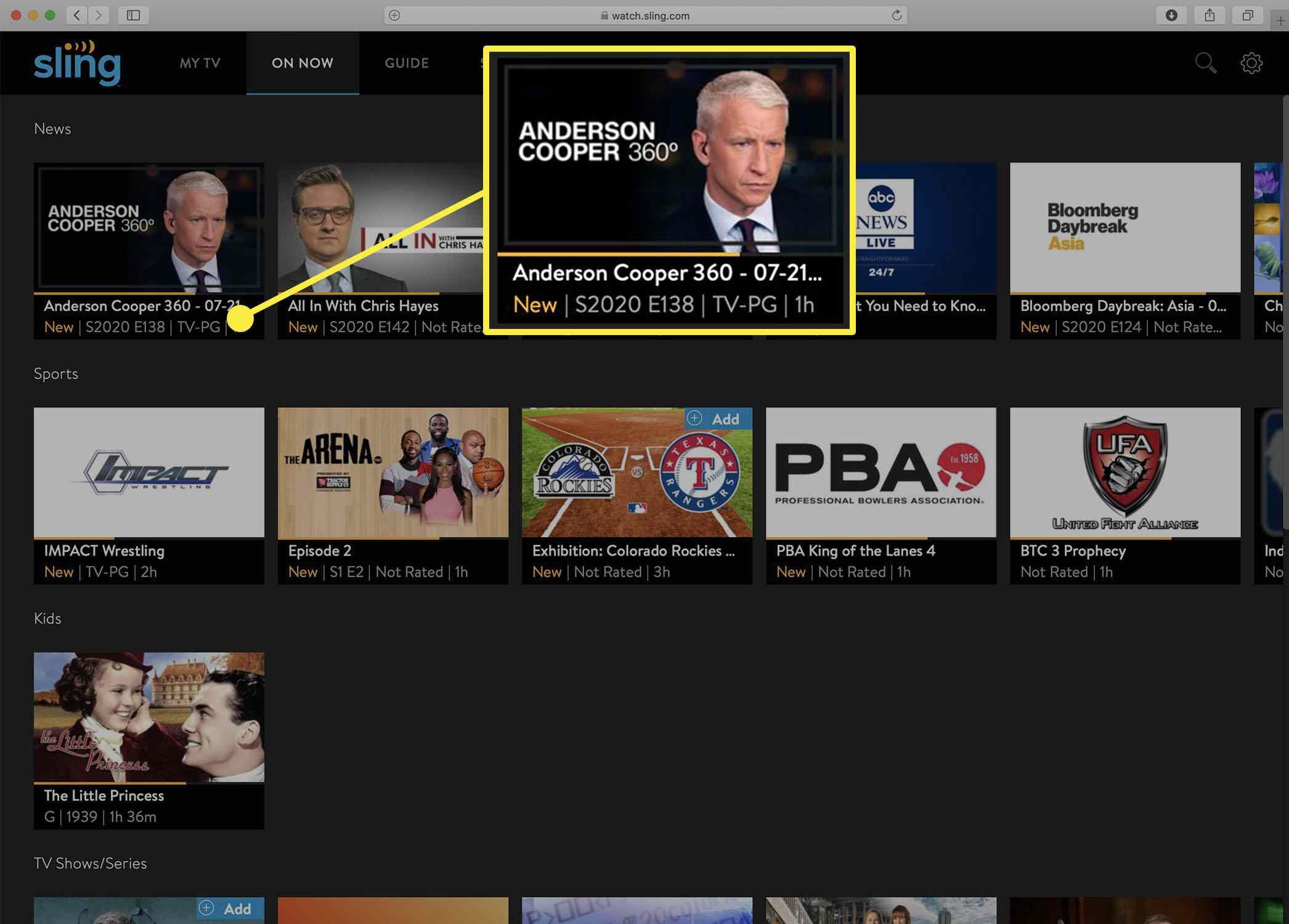 Screenshot of the Sling TV homescreen.