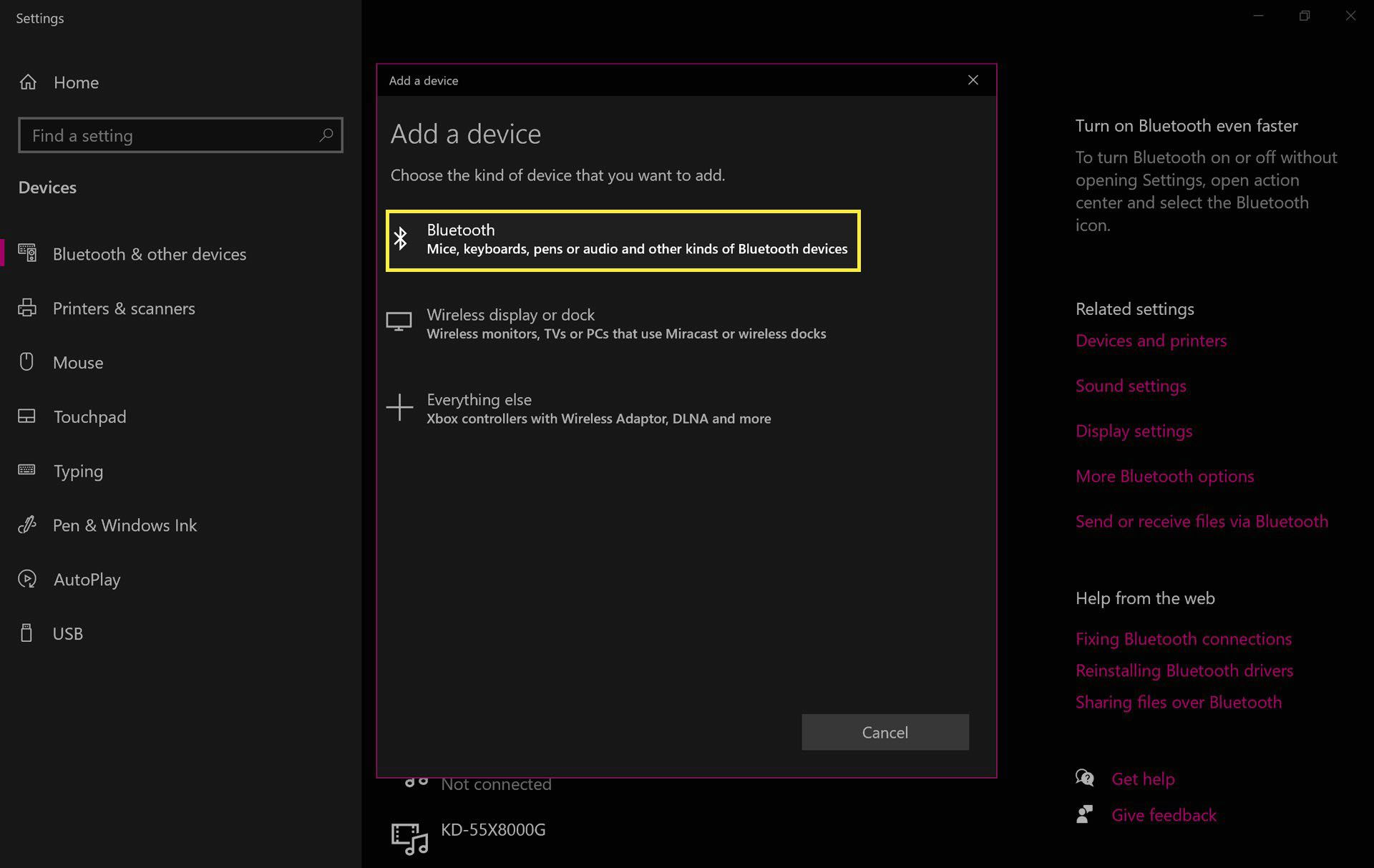Adding a device to Windows 10.