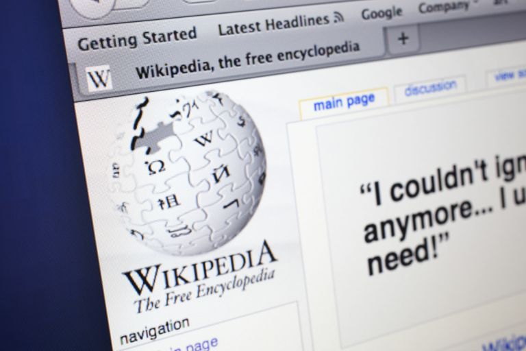 Computer screen showing a Wikipedia page