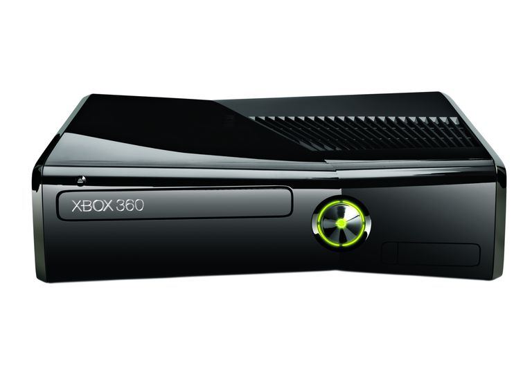 Black Xbox 360 on its side