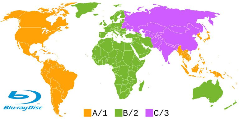 Blu-ray Disc Region Code Map
