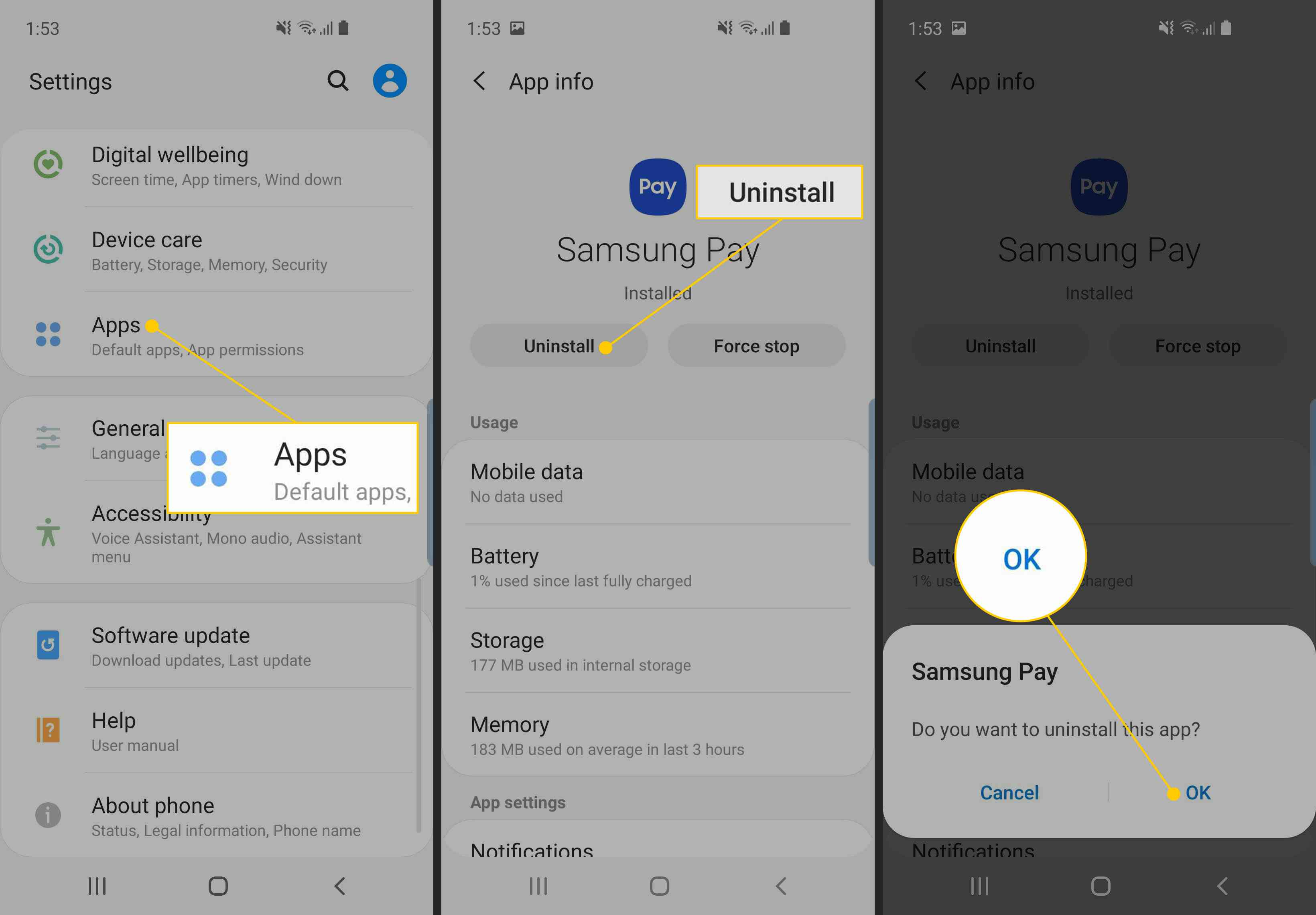 Apps, Uninstall button, OK button on Samsung