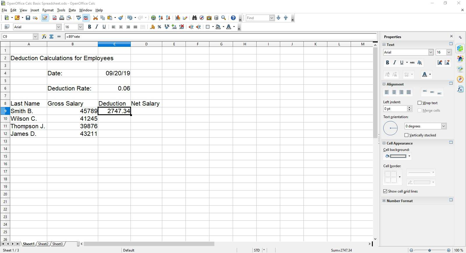 The results of the rate formula in OpenOffice Calc.