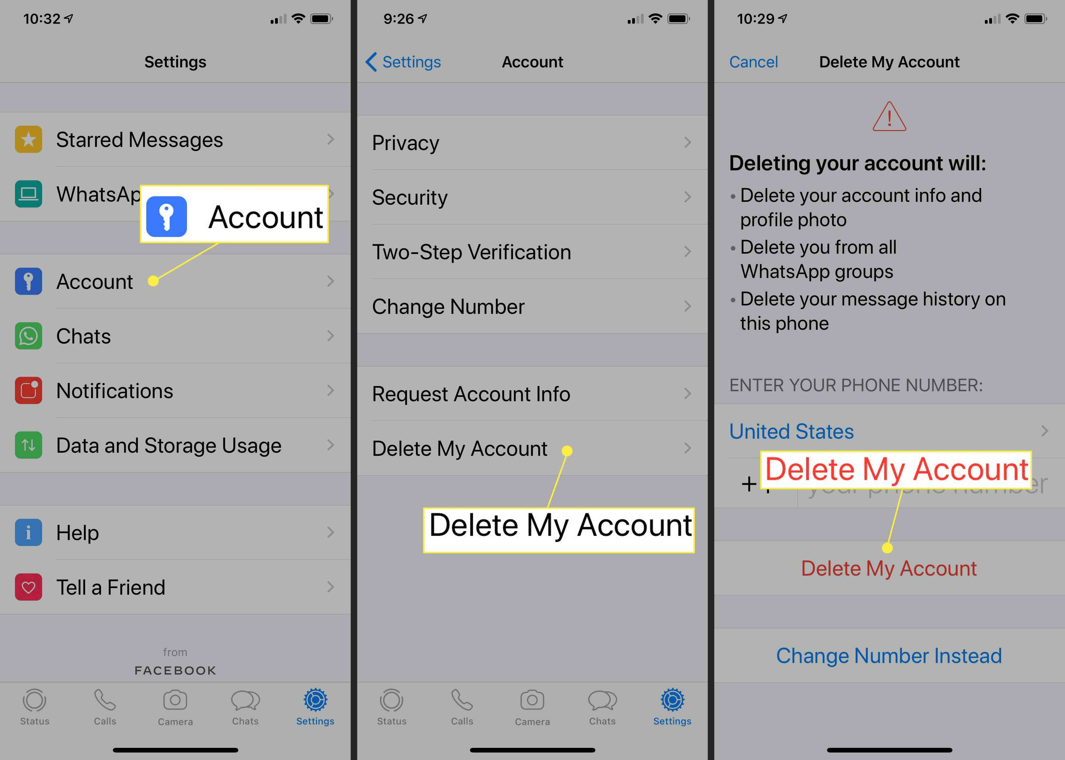 Deleting account on iPhone