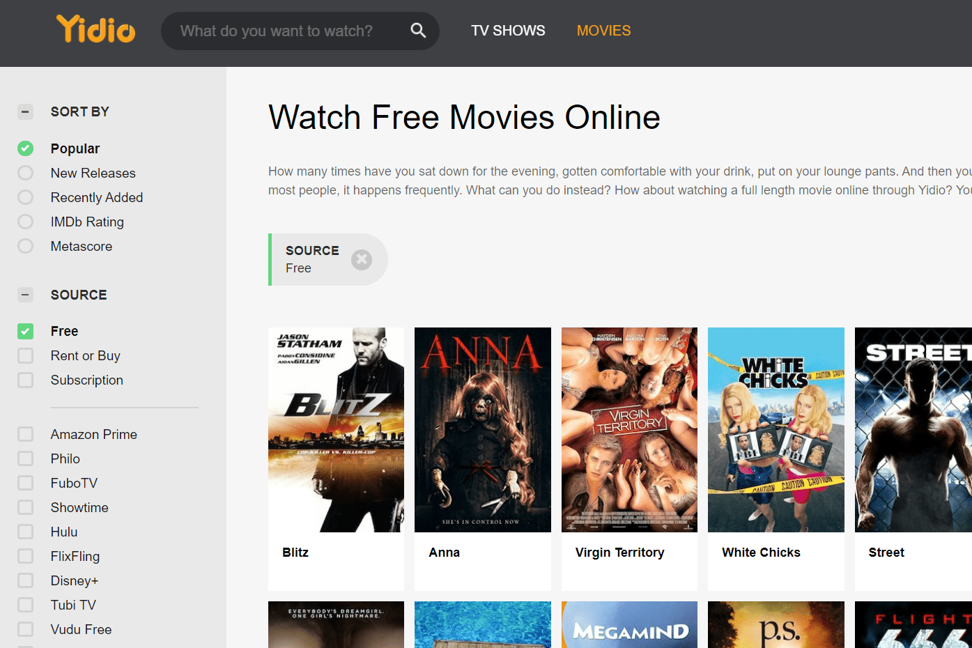 List of free movies at Yidio