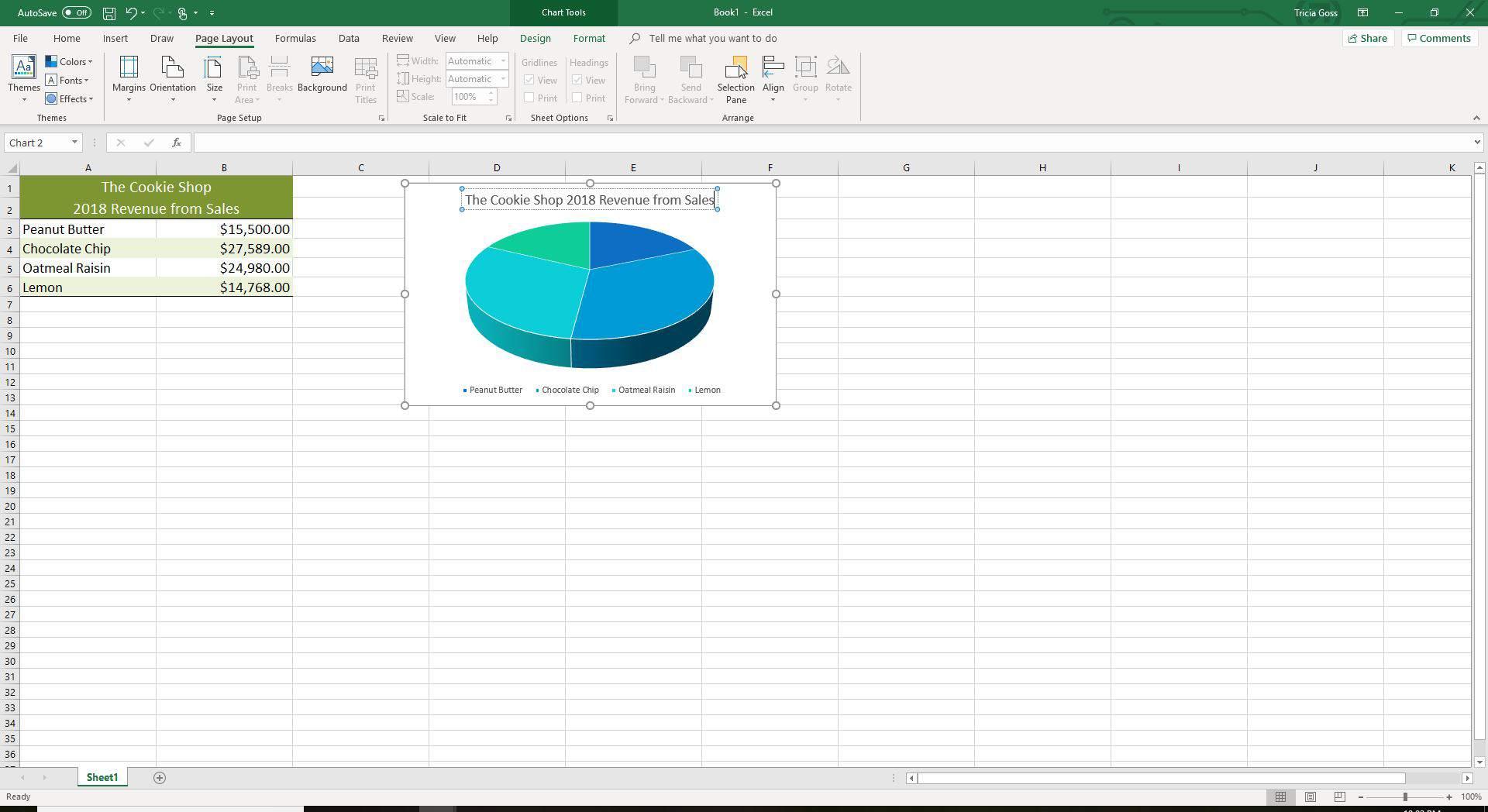 Screenshot of edited chart title