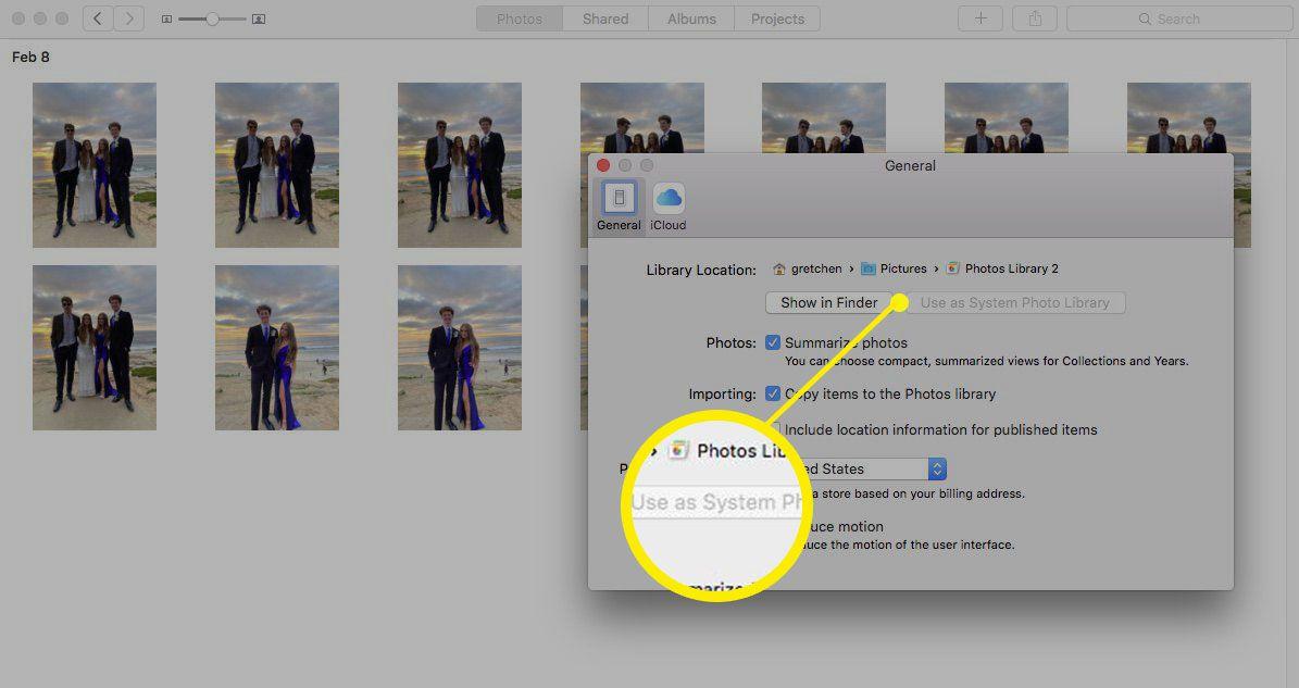 Screenshot of designating new System Photos Library