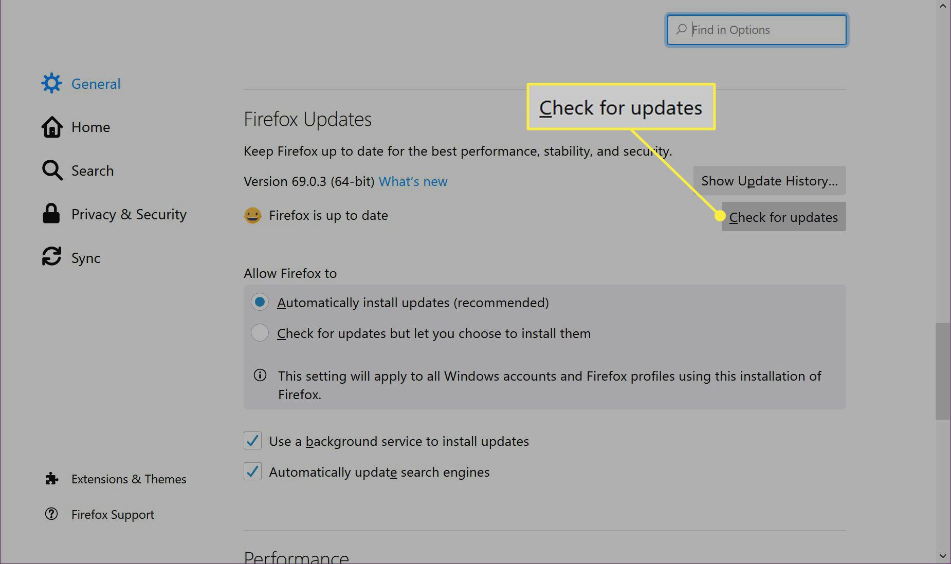 The Check for Updates button in Firefox