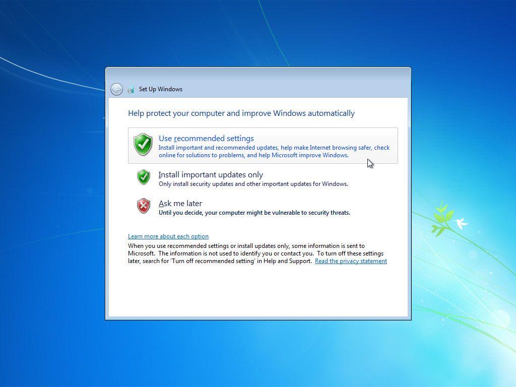 Windows 7 asking for Windows Update options after setup