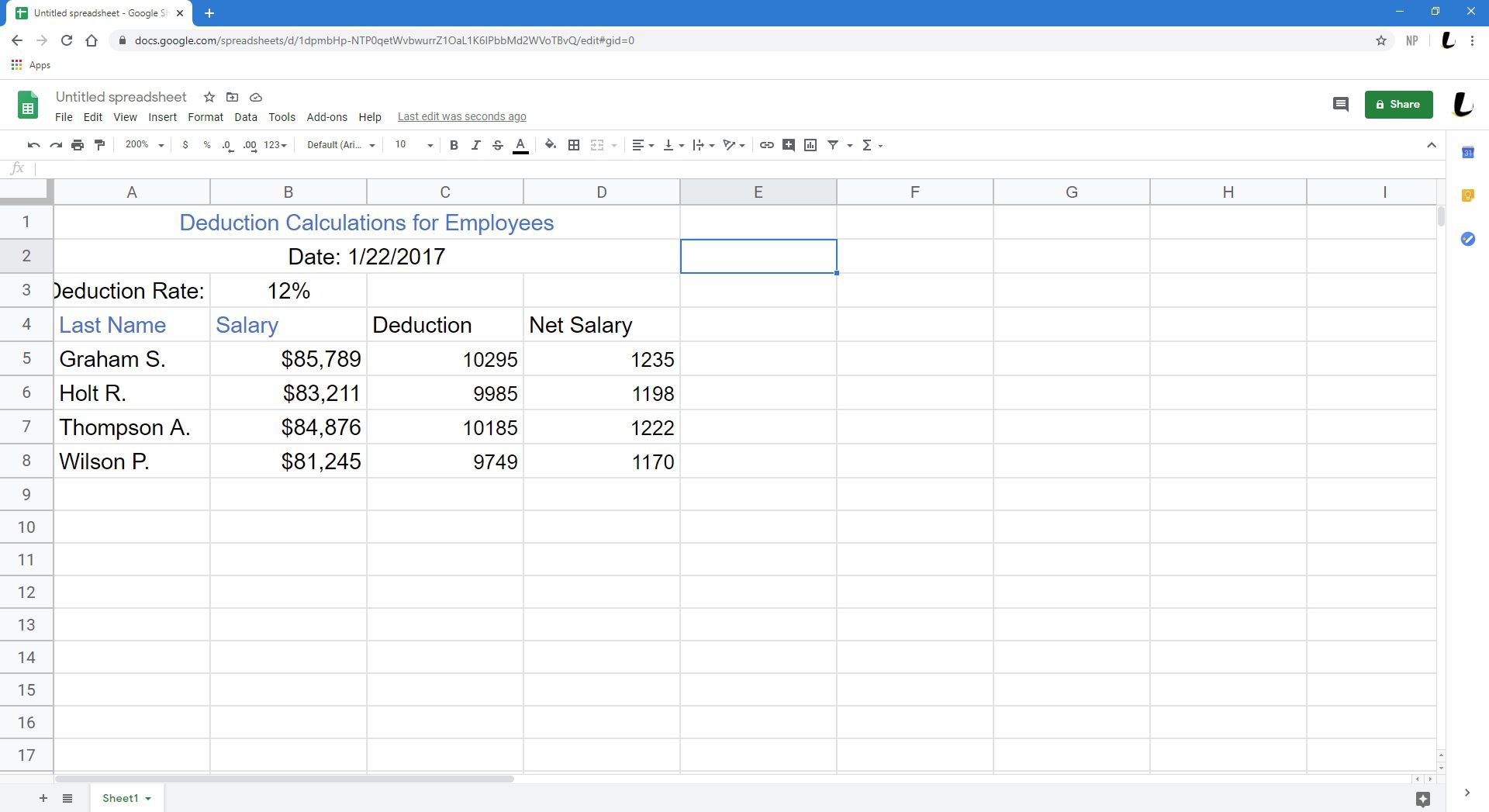 Data entered into a Google Sheet.