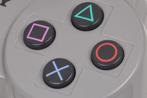Upclose shot of the main action buttons on the Playstation controller.