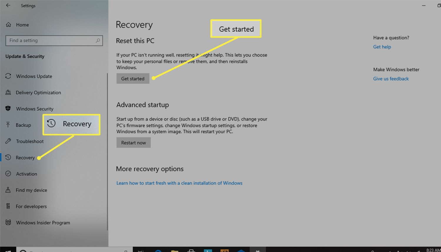 Get started button under Reset this PC from the Recovery section of Windows Settings