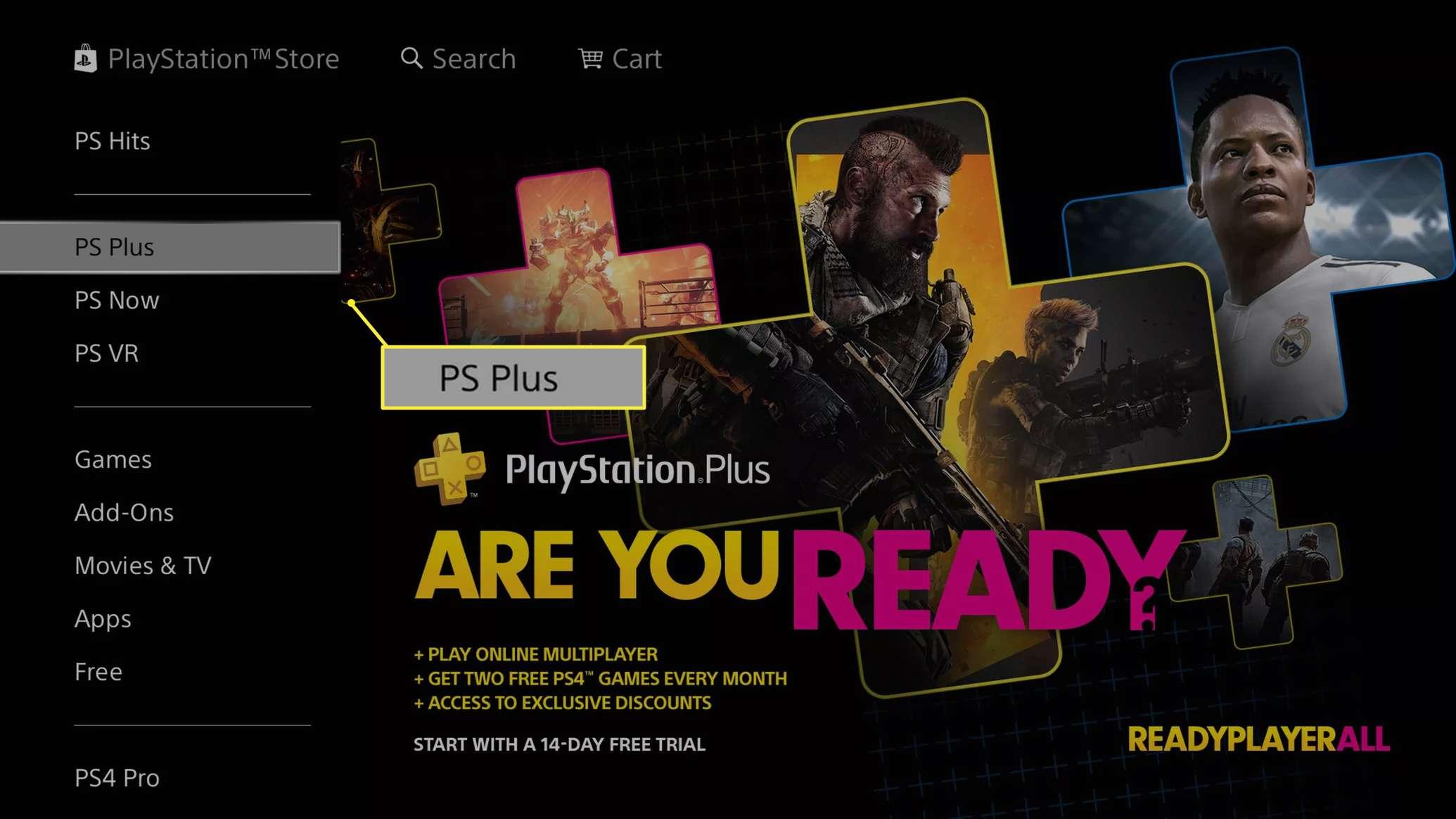 PS Plus in menu