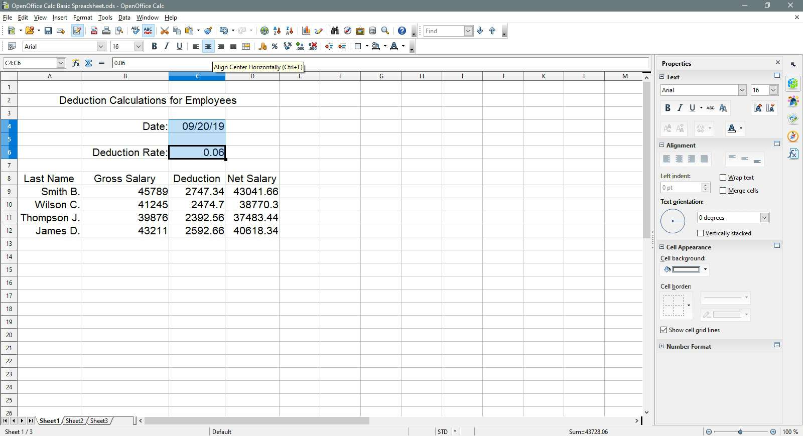 Aligning the cells centered horizontally in OpenOffice Calc.