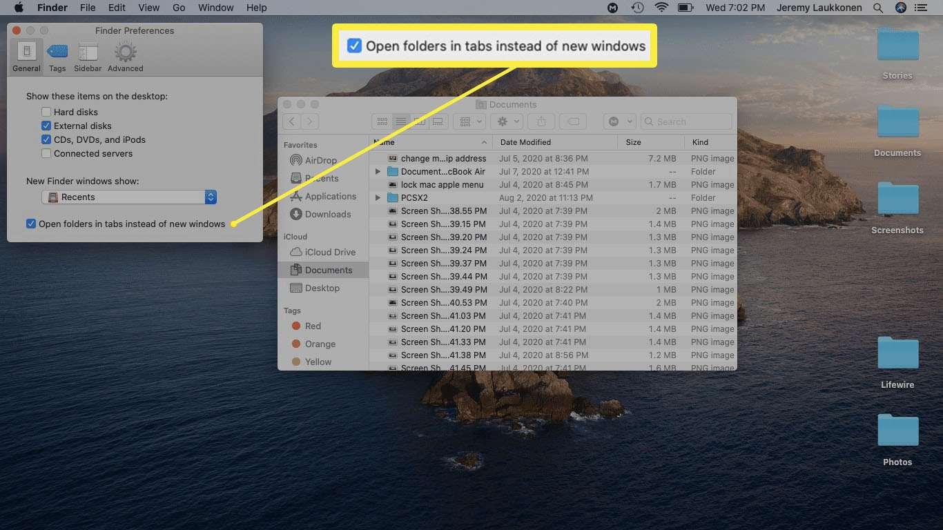 A screenshot of Finder Preferences.
