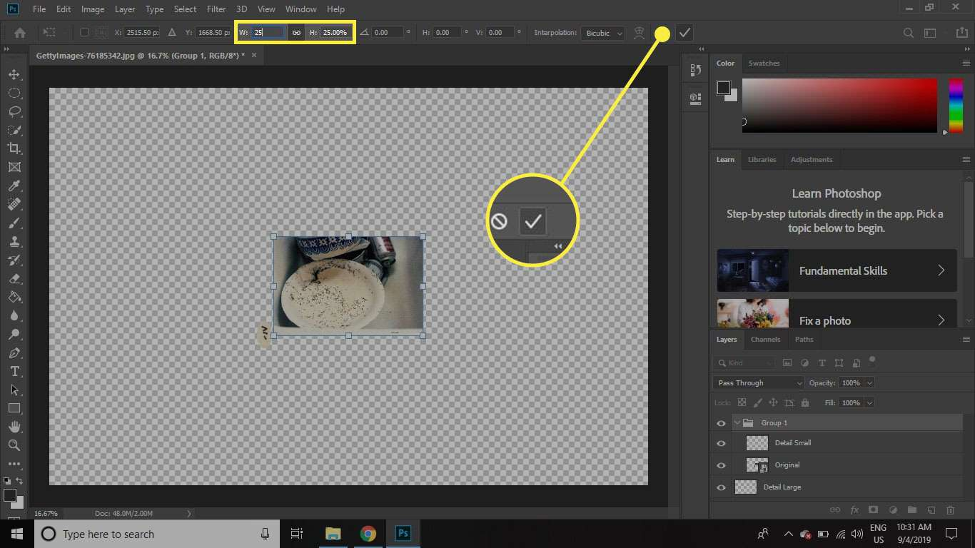 A screenshot of Photoshop with the Scale commands and Confirm button highlighted