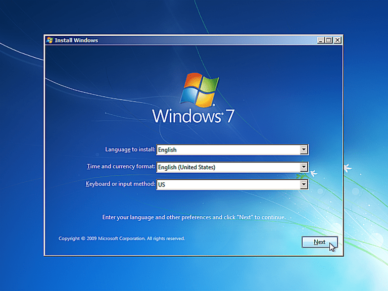 Screenshot of the Install Windows window when booting from the Windows 7 Setup disc