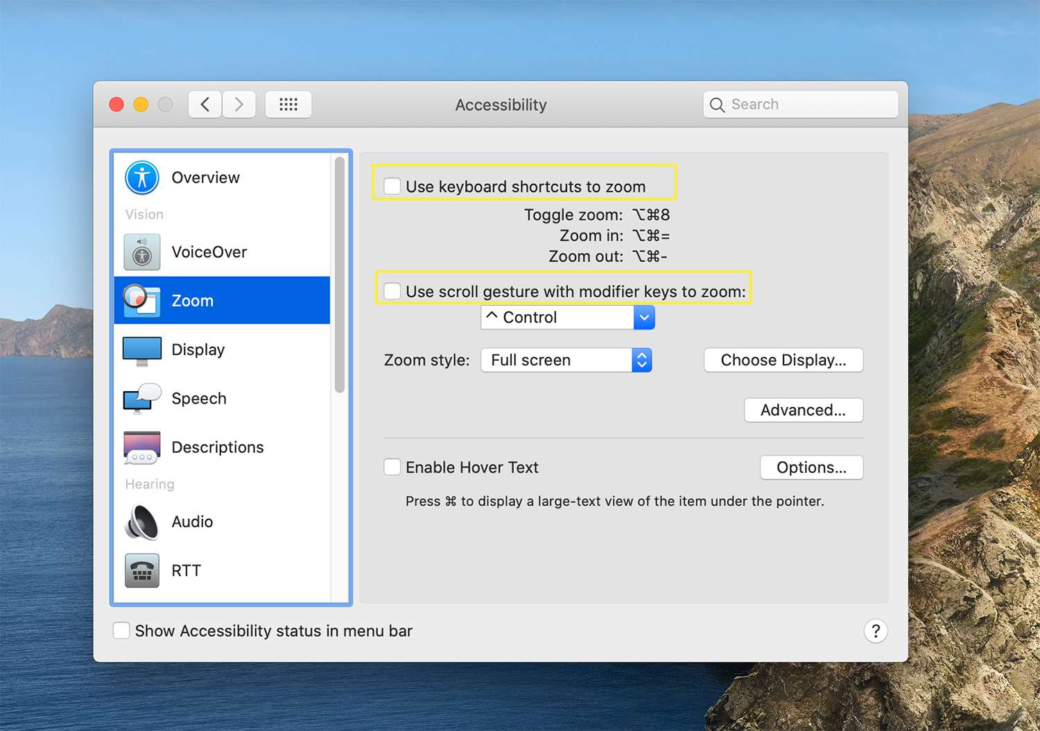 Keyboard and scroll gesture settings for the Zoom tool on macOs