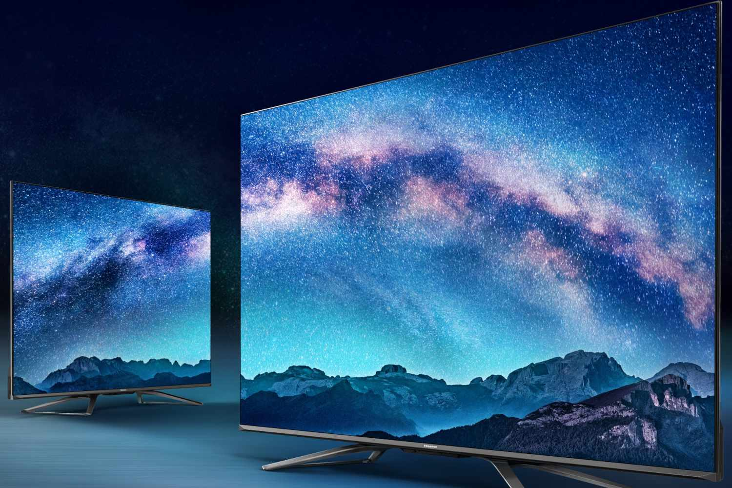 Two Hisense televisions in a promotional image