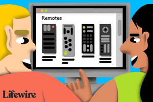 Illustration of two people looking at a computer screen with remotes on it