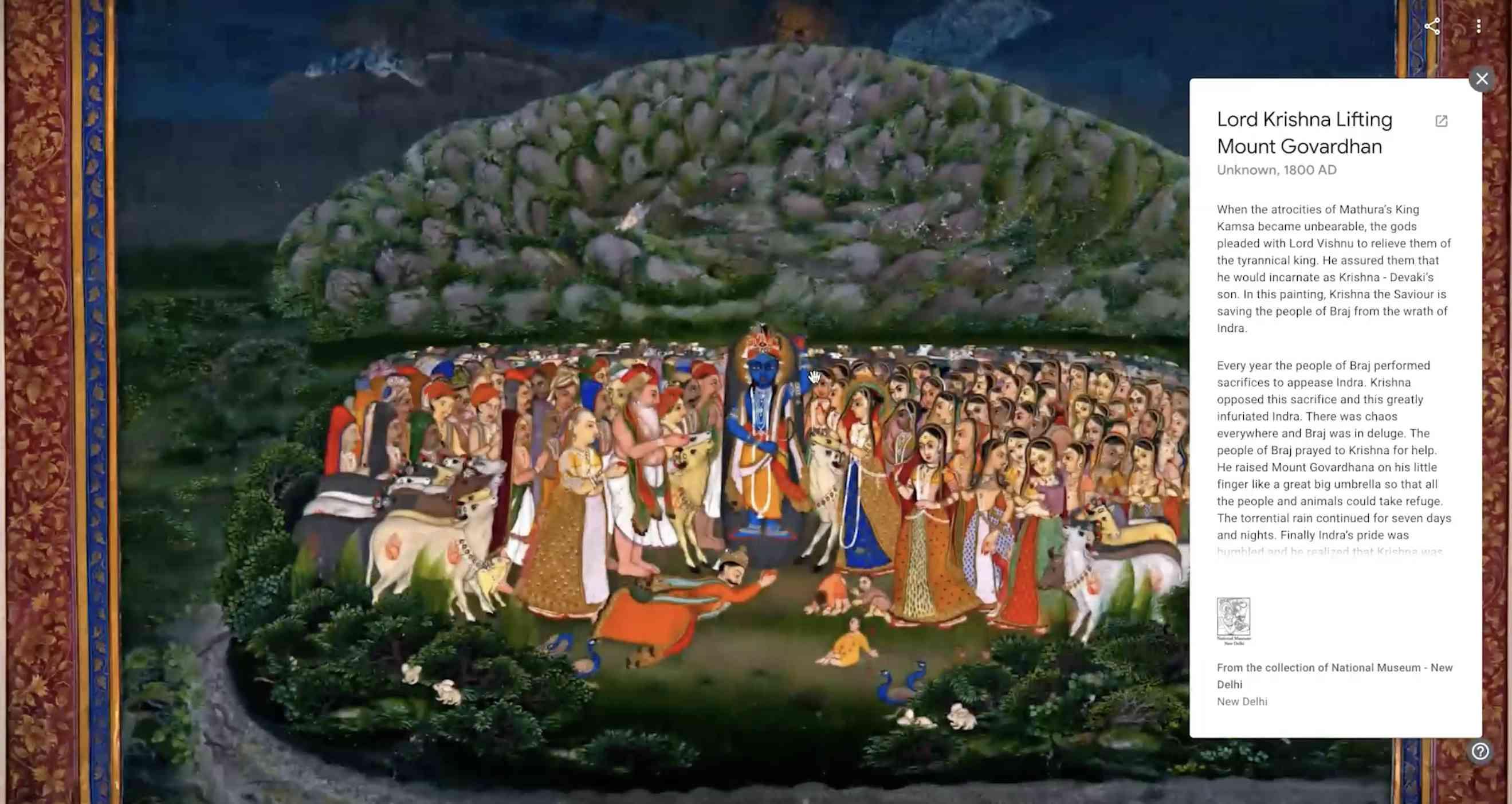 Pocket Gallery - Lord Krishna Lifting Mount Govardhan