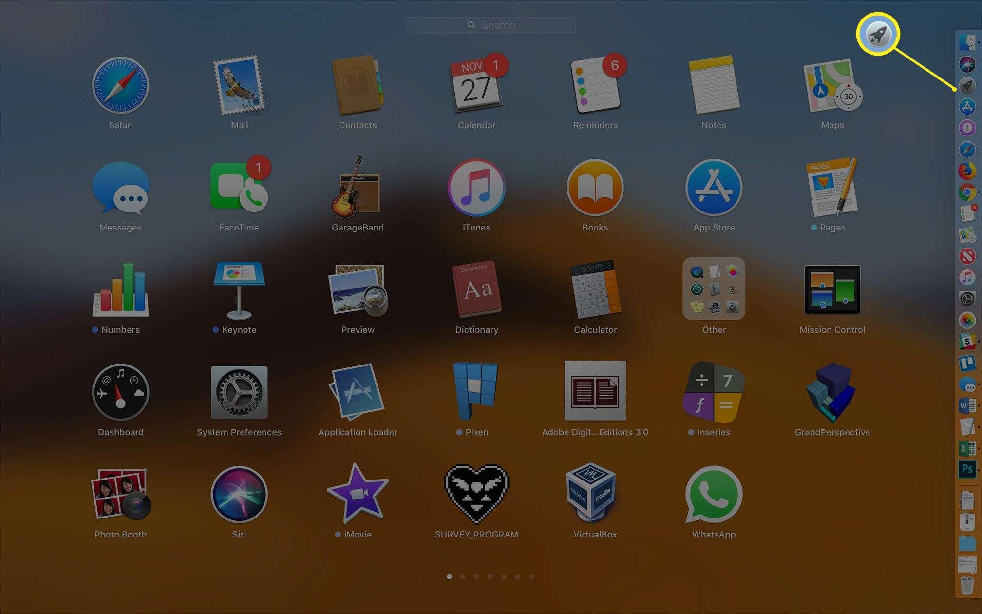 Launchpad app on macOS, highlightint Launchpad app Dock icon