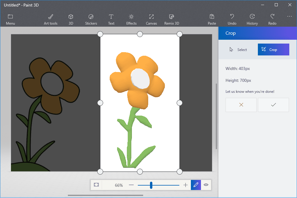Screenshot showing how to crop a 3D object out of a Paint 3D canvas