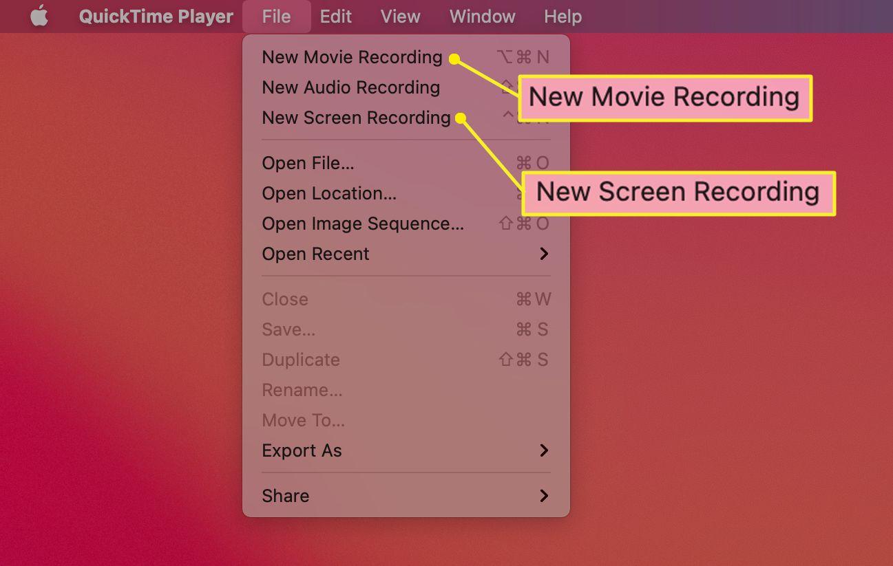 QuickTime Player menu on Mac