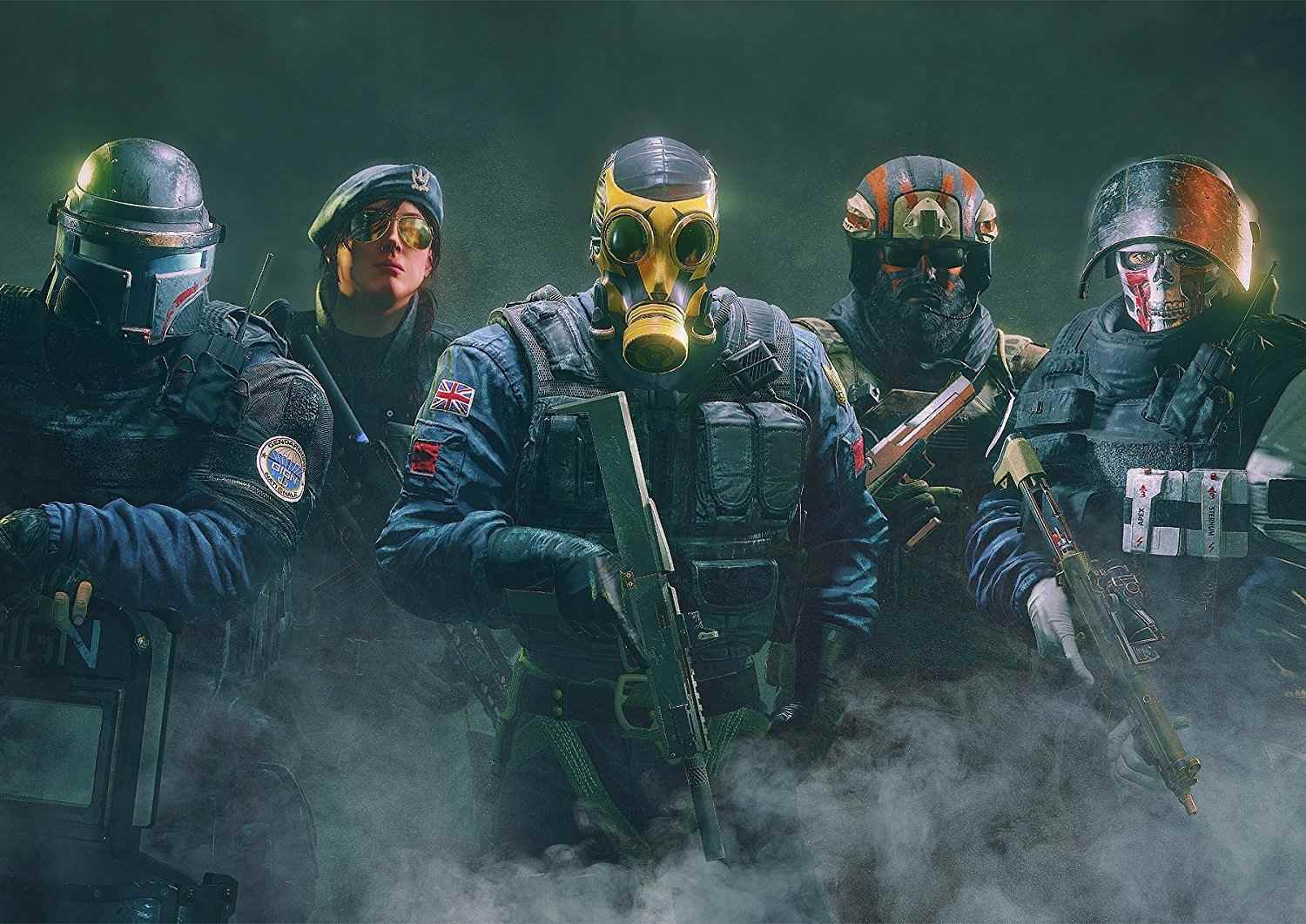 An artist's rendering of Montagne, Ash, Smoke, Blackbeard and Rook from Rainbow Six Siege