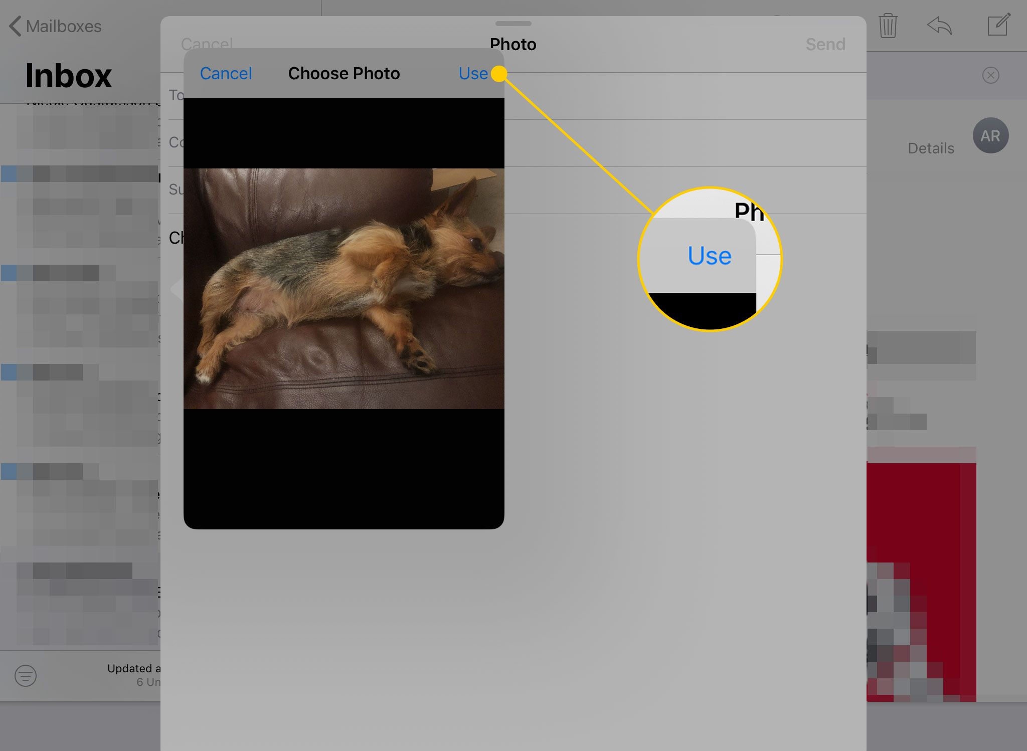 A photo selection window open in an email on an iPad with the Use button highlighted