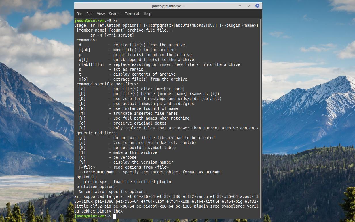 Linux ar command