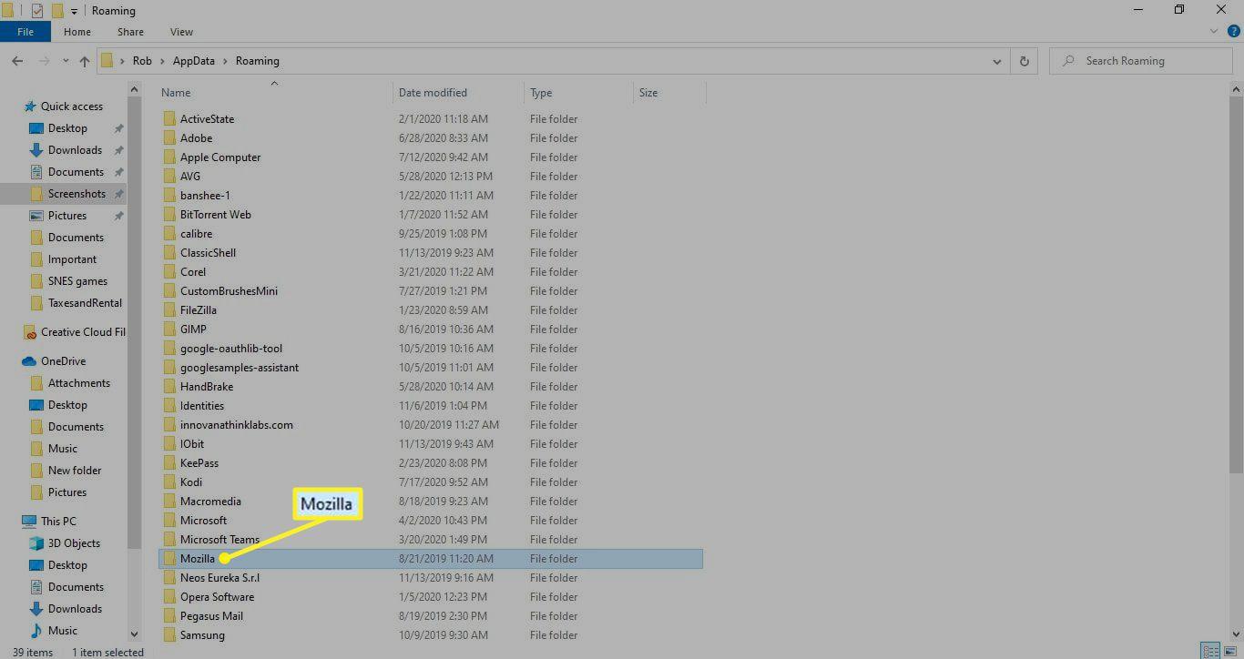 The Mozilla folder in the Roaming subfolder of AppData