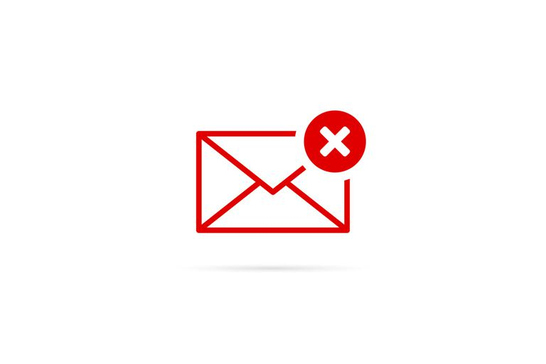 An illustration of an email account that isn't working, shown by an email with a red X over it.