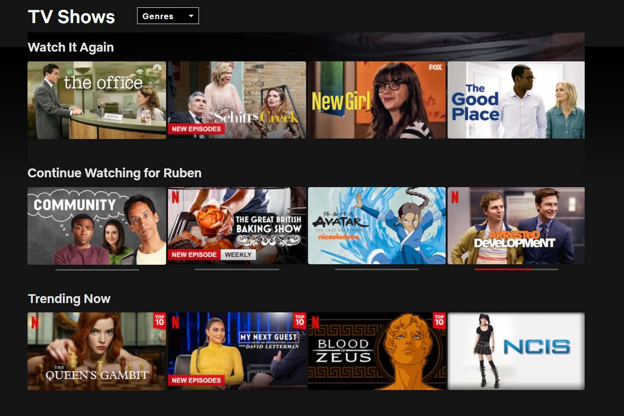 Netflix's homepage for TV