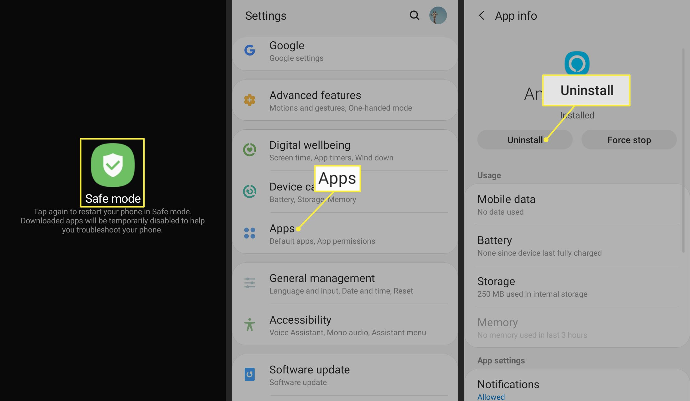 Safe Mode, Apps, and Uninstall in Android app settings